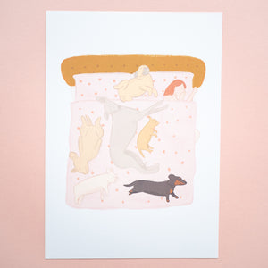 Dogs hogging the bed A4 print