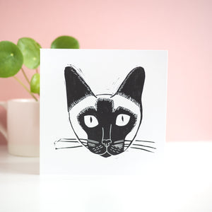 siamese cat face lino print card