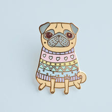 snug as a pug fawn pug enamel pin