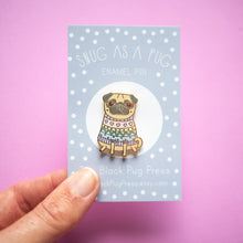 fawn pug in a jumper enamel pin