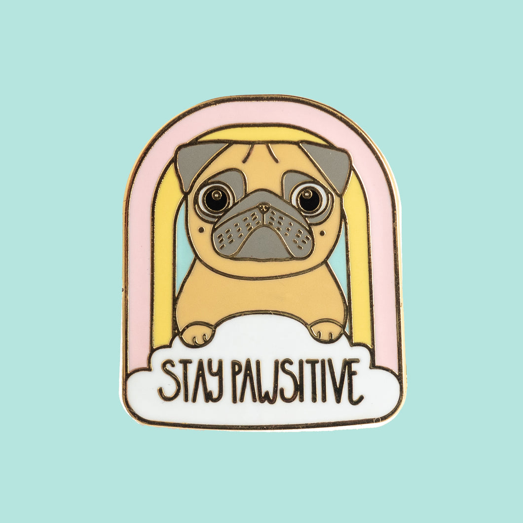 stay pawsitive fawn pug enamel pin