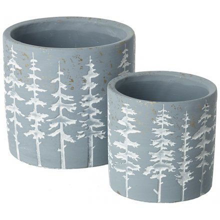Rustic Grey Pot with Trees