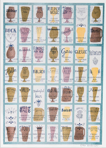 Craft Beers Risograph Print
