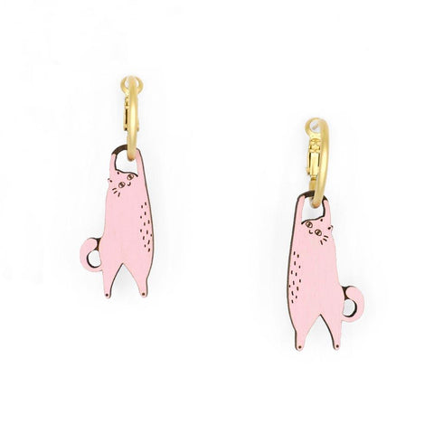 Hanging Cat Hoop Earrings