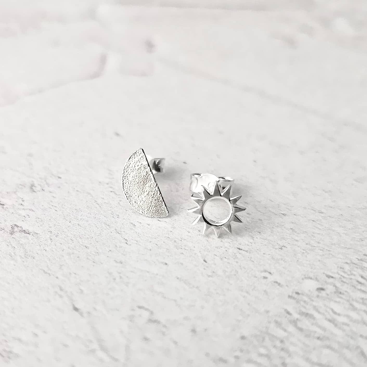 Moon and Sun Stud Earrings