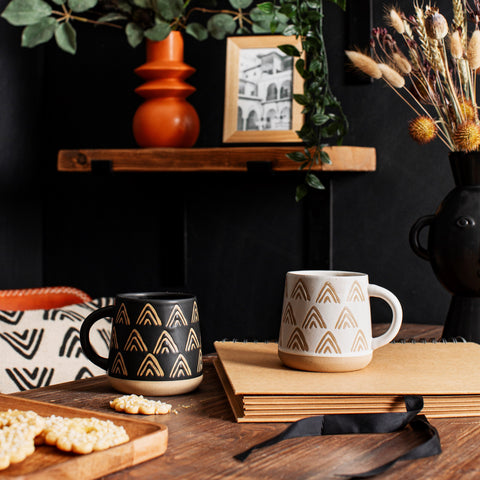 Wax Resist Triangles Black Mug