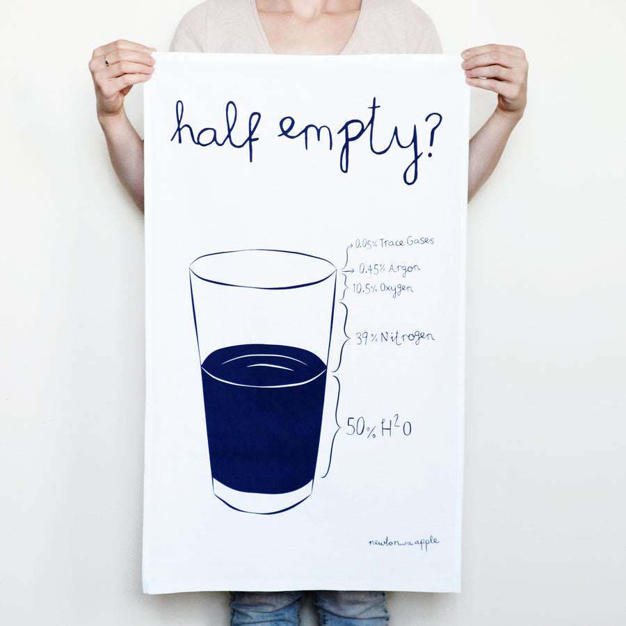 'Glass If Full' Tea Towel