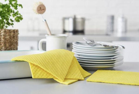 Compostable Sponge Cleaning Cloths - Yellow (4 Pack)
