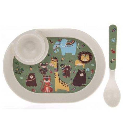 Bamboo Jungle Egg Plate & Spoon Set
