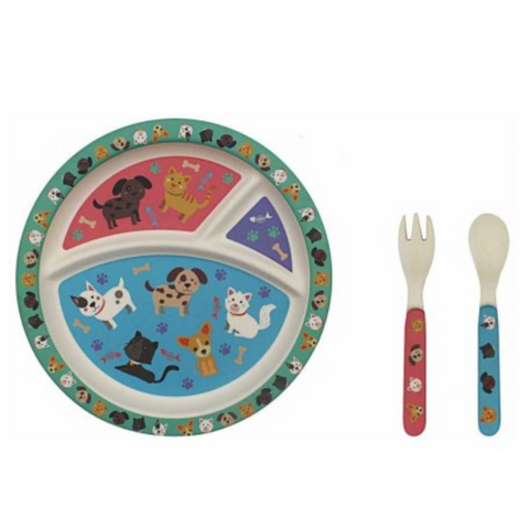 Cats and Dogs Bamboo Eating Set