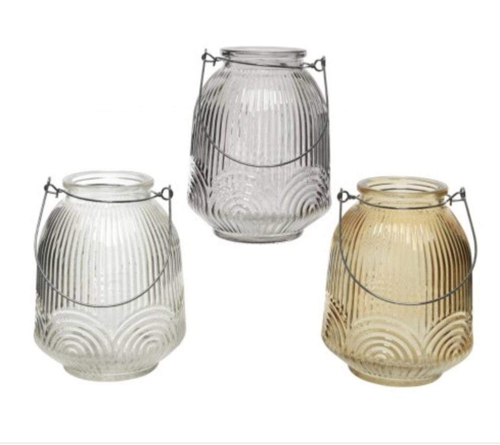 Ridged Glass Candle Lantern