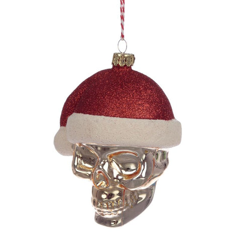 Skull in Santa Hat Decoration