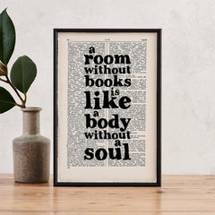 'A room without books' Framed Book Page Print