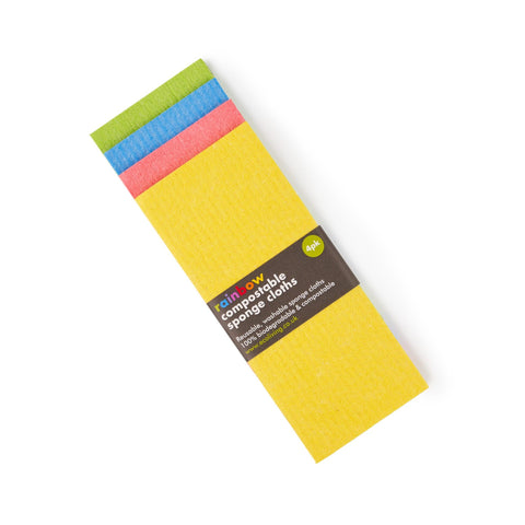 Compostable Sponge Cleaning Cloths - Rainbow (4 Pack)