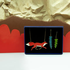 Fox Necklace & Fern Earring Set