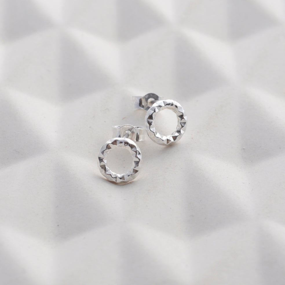 Faceted Circle Stud Earrings