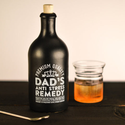'Dad's Anti-Stress Remedy' Stoneware Bottle / Decanter