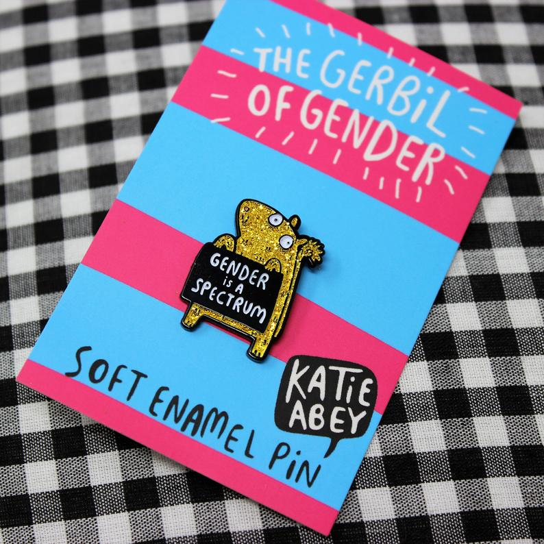 'Gender is a Spectrum' Gerbil Pin