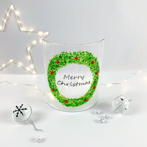 Christmas Wreath Glass Panel