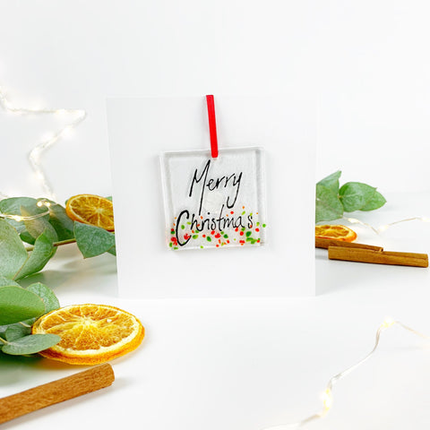 'Merry Christmas' Glass Decoration Greetings Card