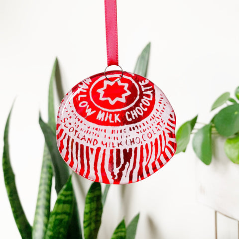 Tunnocks Teacake Glass Decoration