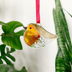 Wee Robin Glass Decoration
