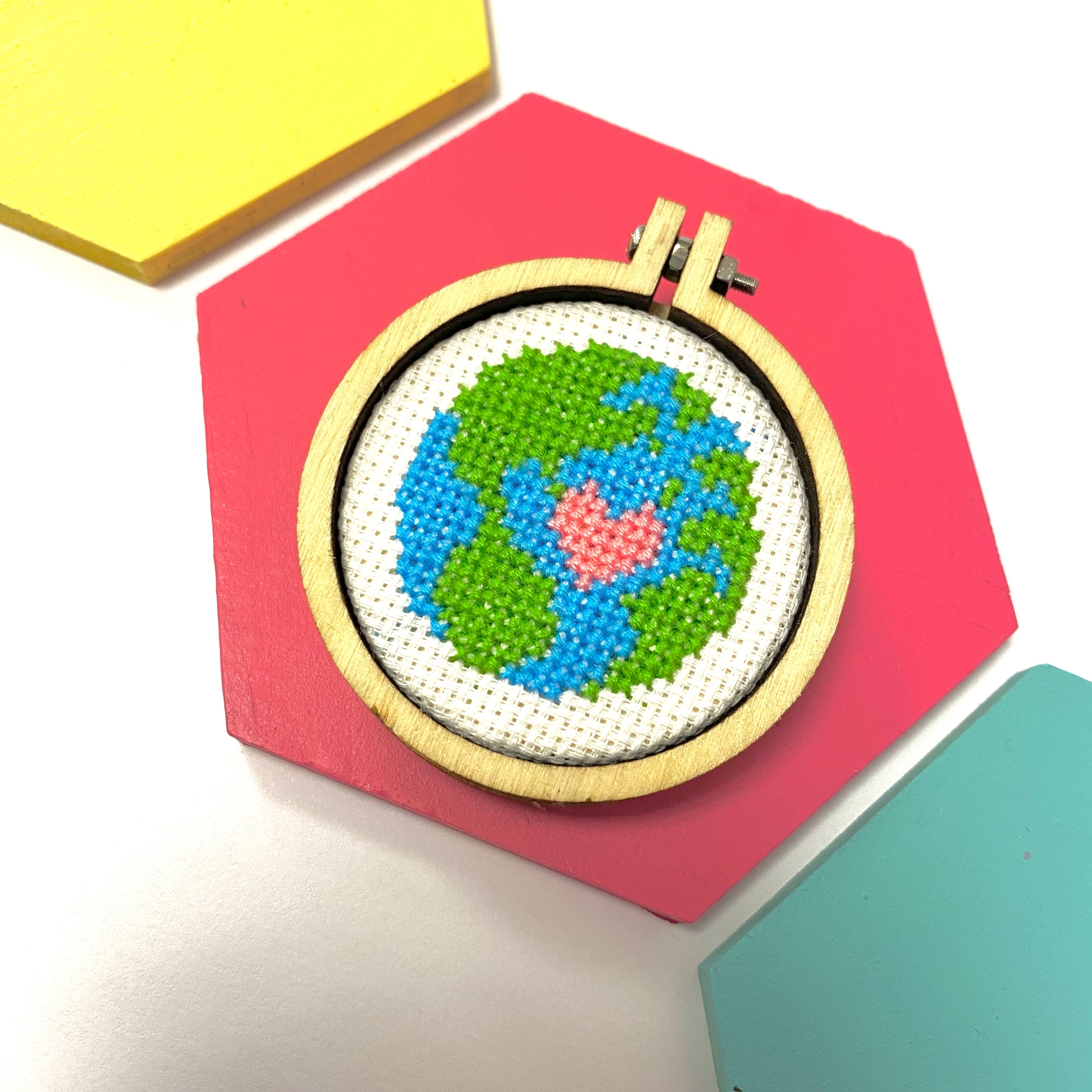 Love The Earth Cross Stitch Badge