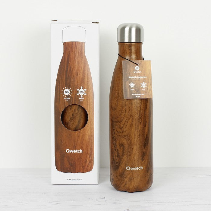 Insulated Stainless Steel Bottle - Wood - 500ml