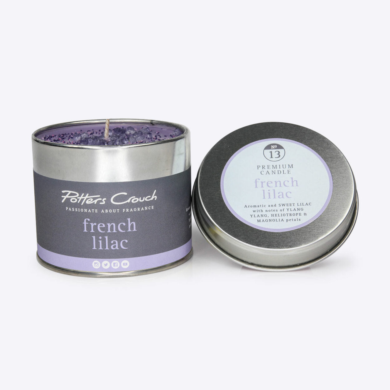 French Lilac Scented Candle in a Tin