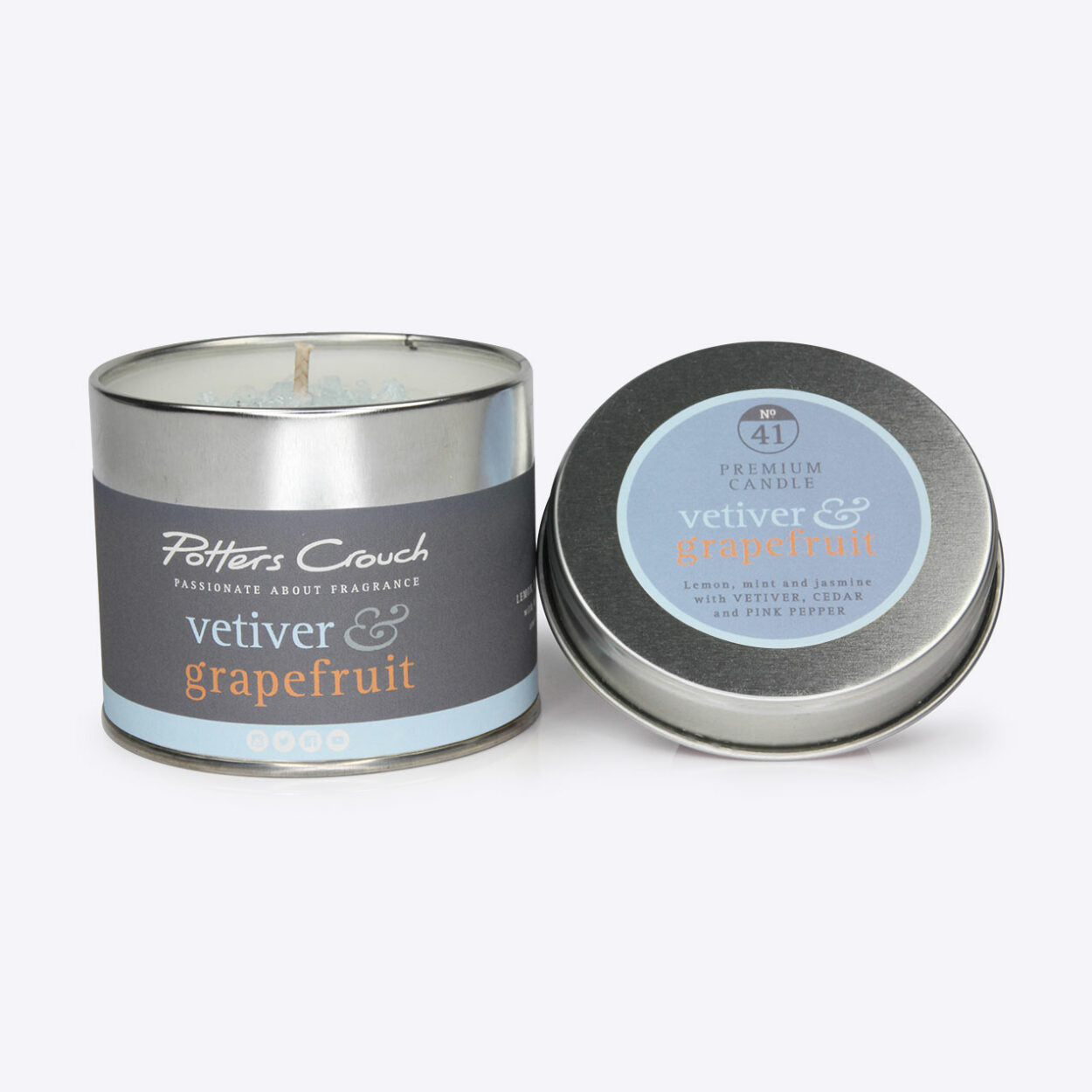 Vetiver and Grapefruit Scented Candle in a Tin