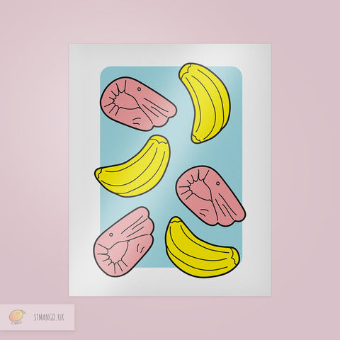 Shrimp and Banana Print