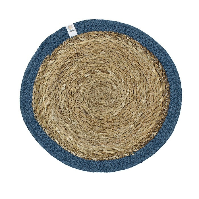 Round Seagrass & Jute Table Mat Denim Blue