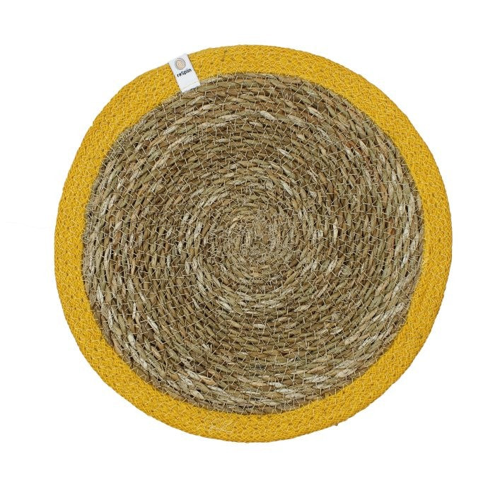 Round Seagrass & Jute Table Mat Yellow