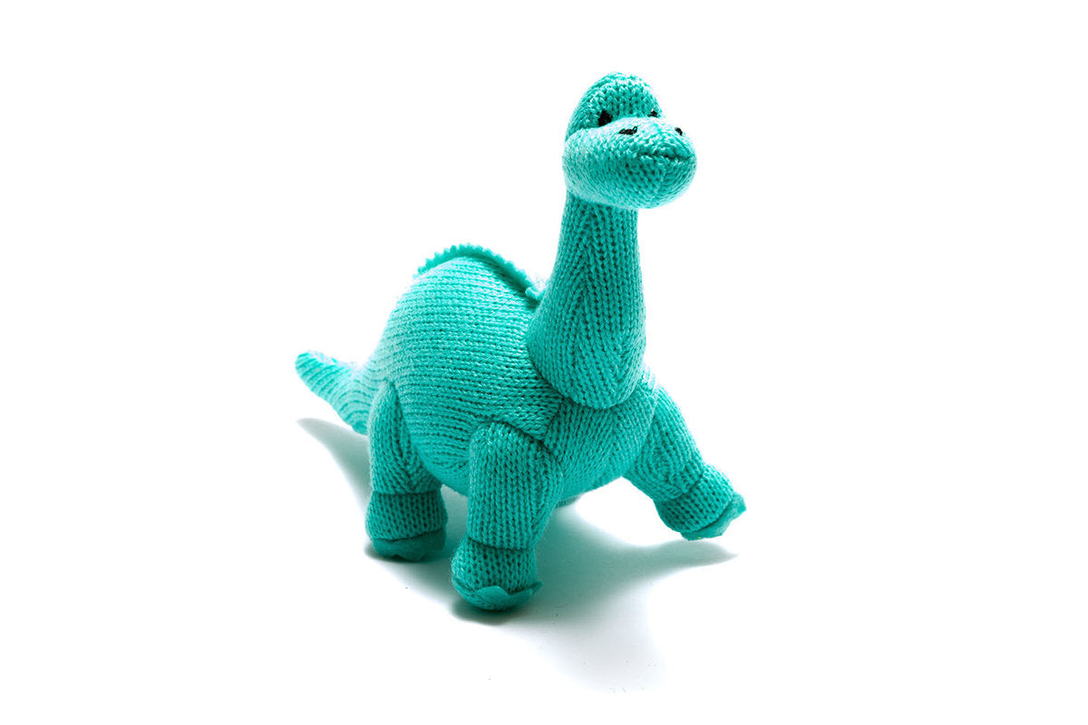 Knitted Ice Blue Diplodocus Dinosaur Rattle