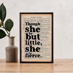 'She is fierce' Framed Book Page Print