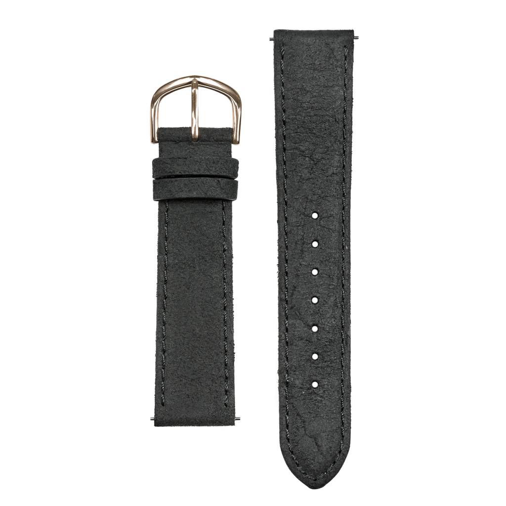 Black Textured Leather 20mm