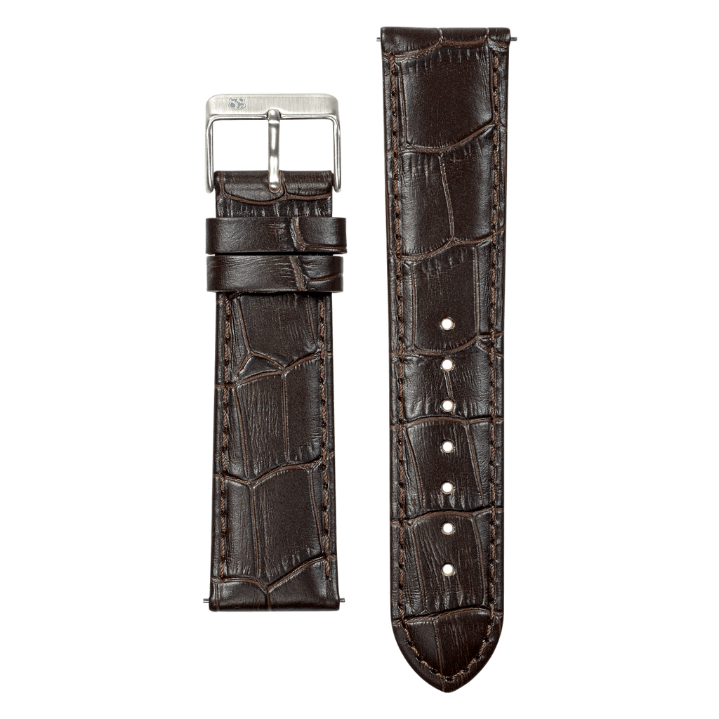 Brown Croco Leather 22mm