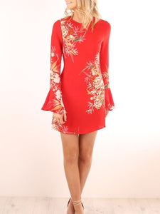 Floral Bell Sleeve Sheath Dress