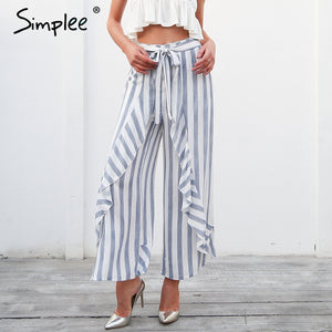 Beach Ruffle Stripe Trouser