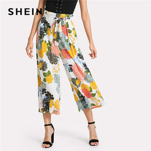 Floral Belted High Waist Crop Trousers