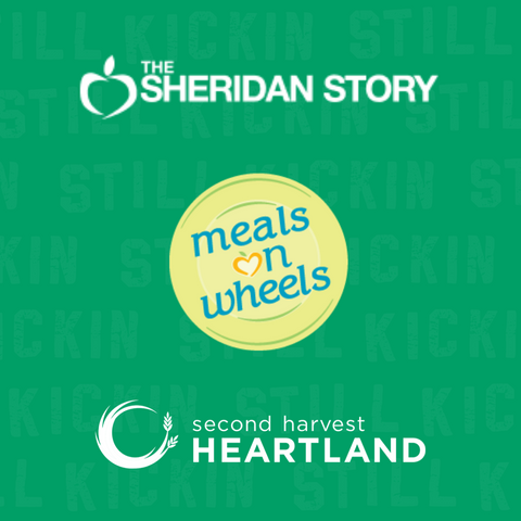 graphic with logos for The Sheridan Story, Meals on Wheels and Second Harvest Heartland