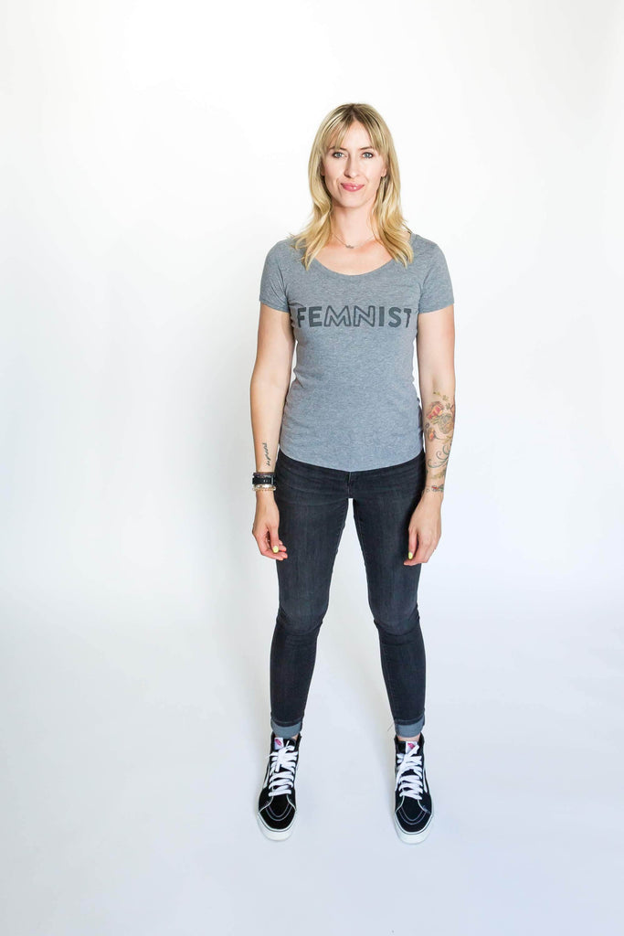 Nora McInerny wearing a grey t-shirt with