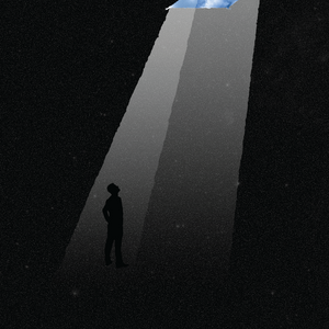 A dark poster with one blue sky light beaming down onto the figure of a man at the bottom.