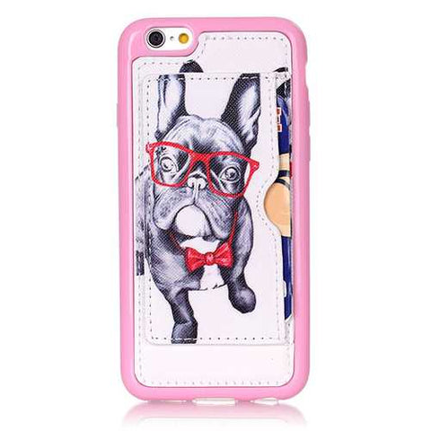 Glasses Dog Pattern Back Holder Case For iPhone 6 Plus & 6s Plus