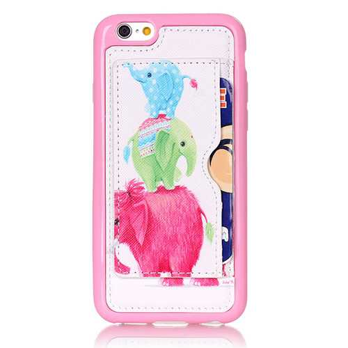 Little Elephant Pattern Back Holder Case For iPhone 6 6s