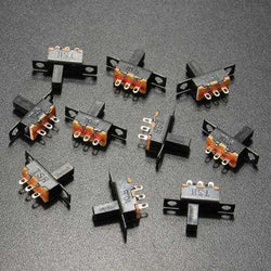10Pcs Black Mini Size SPDT Slide Switches On-Off 100V 2A DIY Material