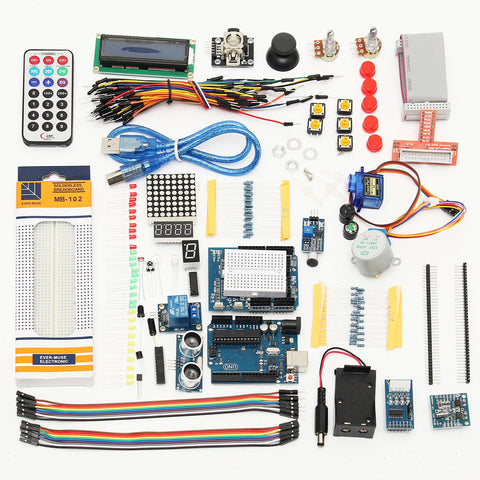 UNO R3 Starter Kits 1602 LCD Servo Ultrasonic Motor LED Relay RTC