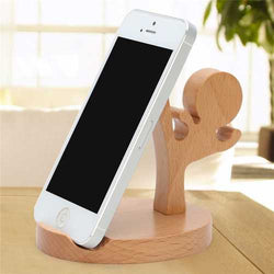 Universal Unique Wooden Kongfu Style Holder Kongfu Kid Phone Stand for iPhone 7 Samsung S8 Xiaomi