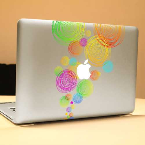 PAG Colored Ring Decorative Laptop Decal Removable Bubble Free Self-adhesive Skin Sticker