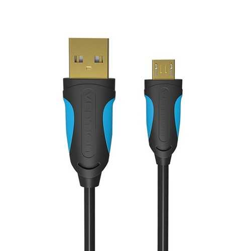 VENTION VAS-A04 Micro USB2.0 Cable Data Sync Charger Cable Black/Ice Blue 1M